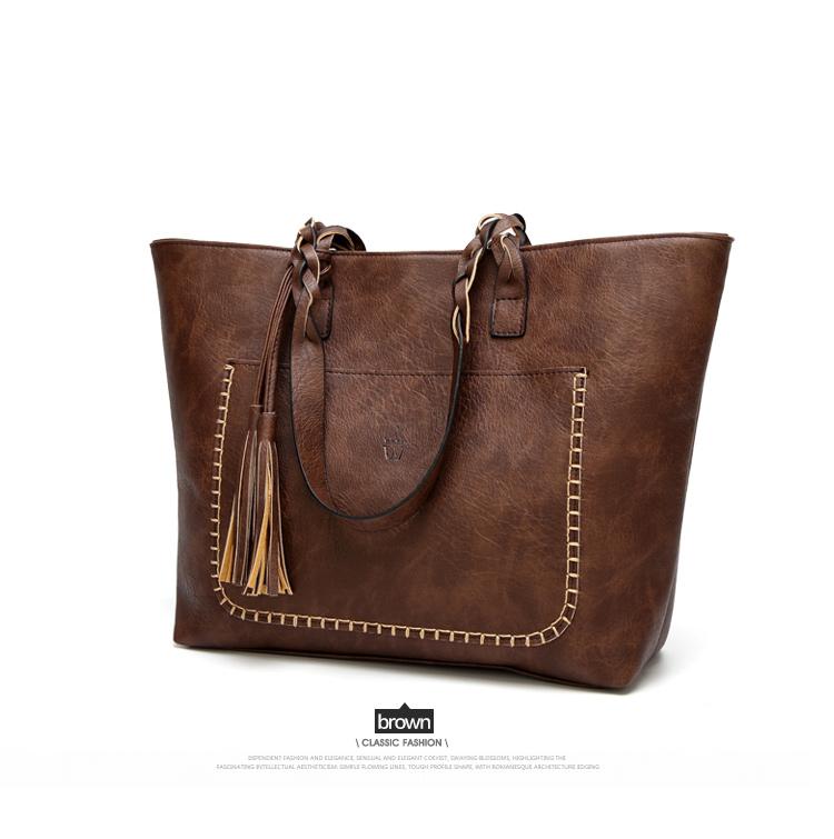 Tinkin  Vintage PU Tassel Women Shoulder Bag Female Retro Daily Causal Totes Lady Elegant Shopping Handbag 9