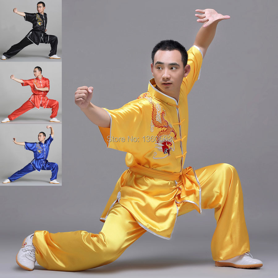 High Quality Satin Tai Chi Suits Martial Arts Performance Uniform Wushu clothing for men women embroidery dragon clothes cotton linen men s yoga suits long sleeved taiji lay clothes plus size breathable meditation martial arts performance clothing
