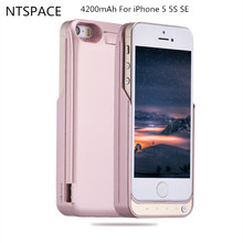Portable Power Bank Case External Battery Pack Backup 4200mAh Power bank Charger Case Cover For iPhone 5 5S SE Battery Case