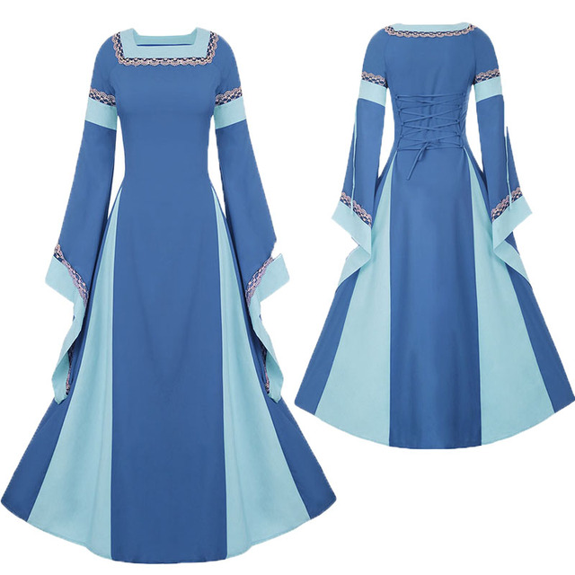 Adult Women Medieval Costume Long Gown Dress Victorian Blue Bell Sleeve  Square Collar Back Lacing Wedding Clothes For Ladies XXL c68247026819