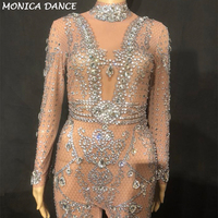 Women Sexy Stage Net Yarn Perspective Jumpsuit Silver Glass Sparkling Crystals White Pearls Nightclub Party Stage Wear Costumes