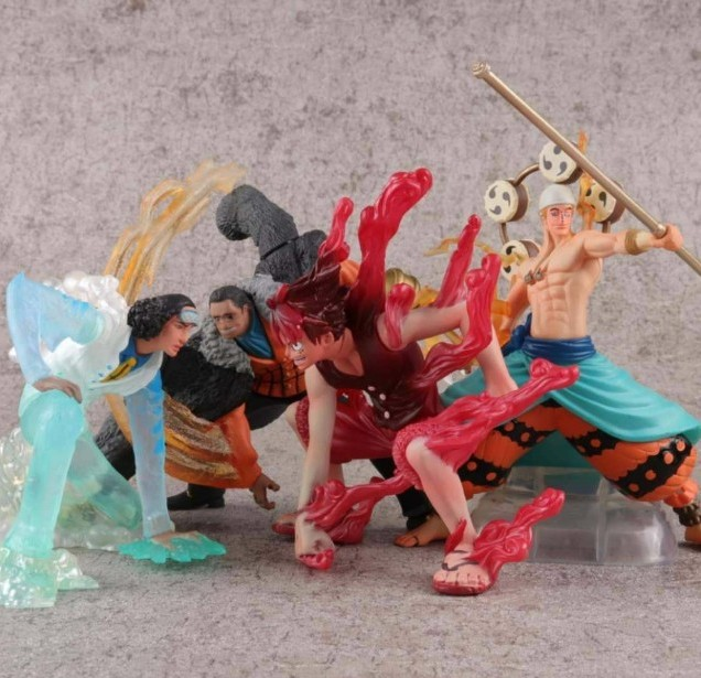 NEW hot 13cm 4pcs/set One Piece Luffy Sir Crocodile Enel Kuzan Nirvana action figure toys collection Christmas gift with box new hot 11cm one piece vinsmoke reiju sanji yonji niji action figure toys christmas gift toy doll with box