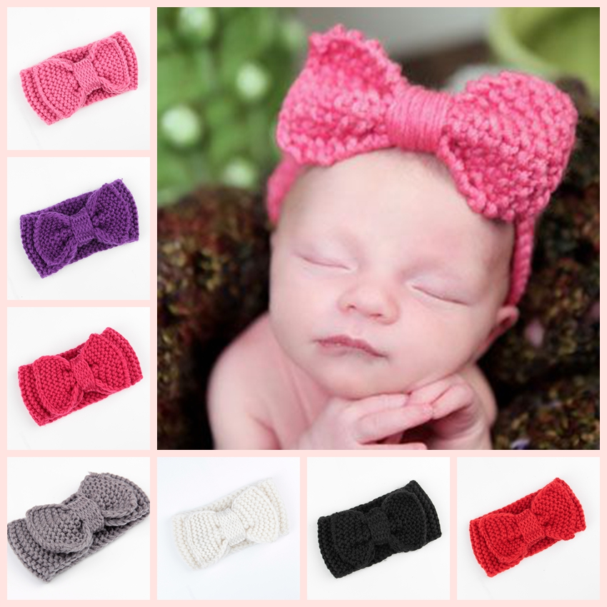 ΞDulce bebé turbante oído caliente ganchillo punto arco Hairband ...