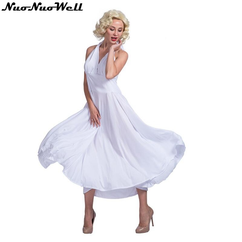 Adult Sexy Deluxe Marilyn Monroe White Dress Costume ...