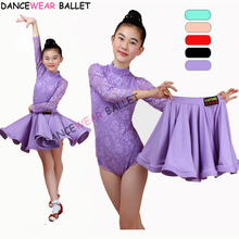 New Girls Latin Dance Skirt Ballroom Salsa Tango Skirts Kid Child Lace Split Dress With Leotard And