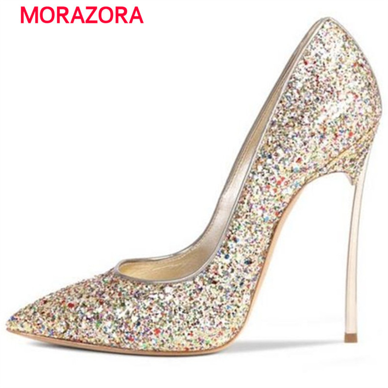 MORAZORA Inside genuine leather shoes spring autumn thin heels shoes woman party wedding women pumps bride shoes size 34-43 siketu 2017 free shipping spring and autumn women shoes fashion sex high heels shoes red wedding shoes pumps g107