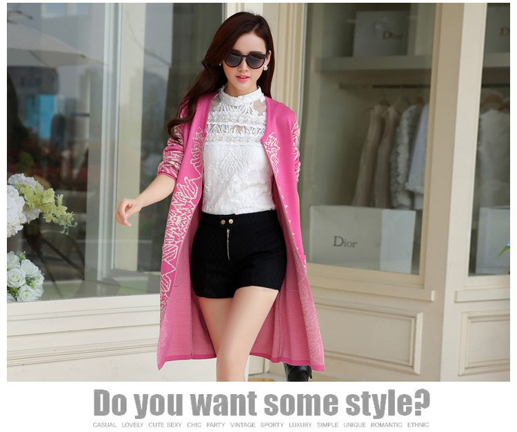 Romantic Style Autumn Ladies Soft Long Wool Cardigan Sweater For Women Pretty Deisgn Pattern Jacquard Cardigans Sweaters Knitting Coat Female bb