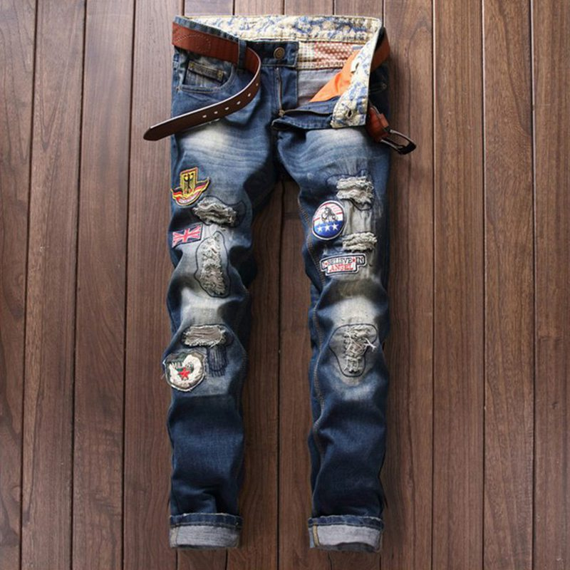 ФОТО Personality Badge Patchwork Jeans Men Ripped Jeans Fashion Brand Scratched Biker Jeans Hole Denim Straight Slim Fit Casual Pants