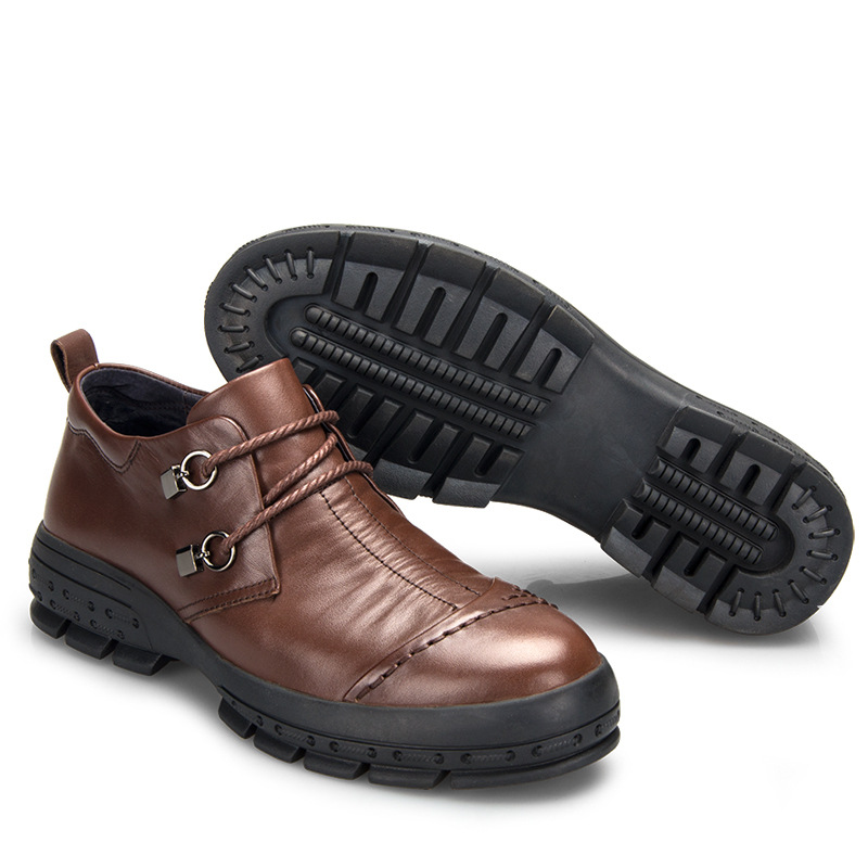 new men's business casual shoes leather shoes men spring and autumn  British retro breathable handmade fashion