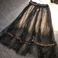 New Black skirts female sequins beads fairy long tall waist skirt in white gauze skirt insight joining together