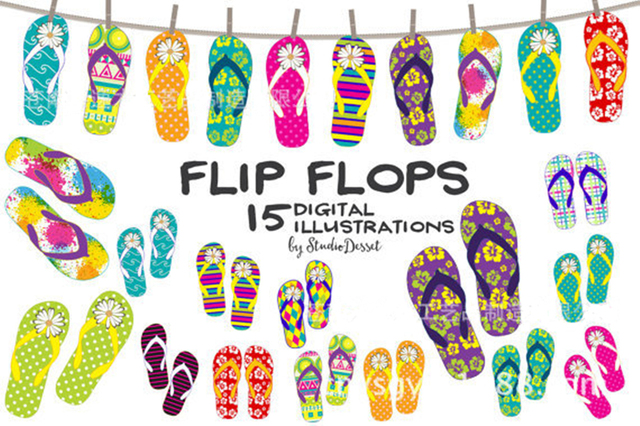 Summer Hawaii Party Flip Flops Wall Hanging Home Decor Bunting Banner