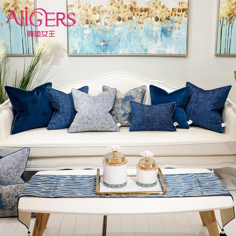 Avigers Blue Gray Cyan Decorative Pillows Square Jacquard Cushion