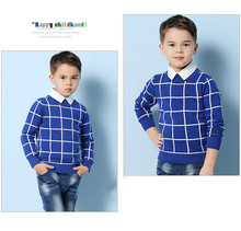 Blue Casual Plaid Toddler Boys Sweaters Pullover White Cotton Crochet Clothing For Children's Black Spring Kids Knitwear Autumn
