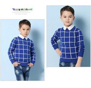Image 2 - Niebieski Casual Plaid berbeć chłopcy swetry swetry czarna bawełniana szydełkowa odzież dziecięca zielona wiosenna dzianina dziecięca jesień