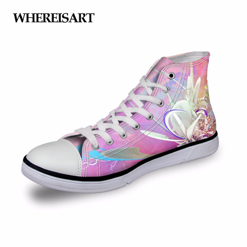 WHEREISART Ladies Sneakers Women Pink Flowers Vintage Shoes Vulcanized High Top Casual Footwear Girls Footwear Sapato Feminino