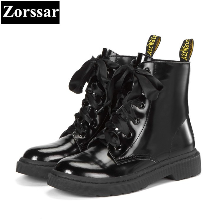 {Zorssar} 2018 NEW fashion Low heel lace up platform short Boots Genuine leather women ankle Motorcycle boots winter warm shoes sitemap 428 xml