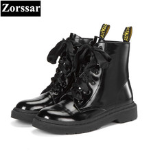 {Zorssar} 2018 NEW fashion Low heel lace up platform short Boots Genuine leather women ankle Motorcycle boots winter warm shoes