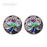 12mm Vintage 925 Sterling Silver Enamel Round Lotus Flower Filigree Stud Earrings for Women Girls Free Shipping