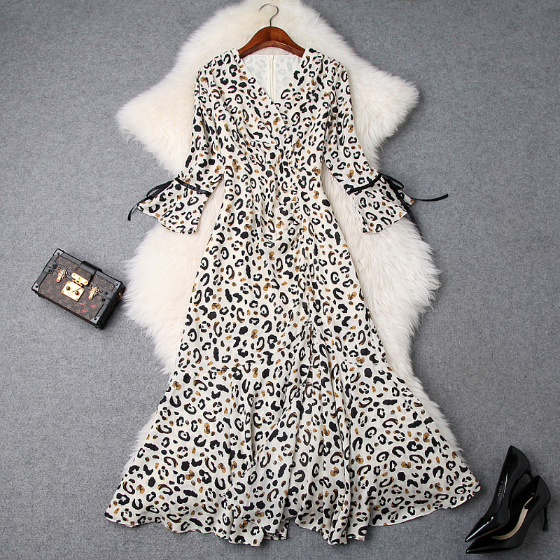 Spring 2019 New High quality Elegant Summer ladies V Neck Leopard dress work women Vintage Ruffles