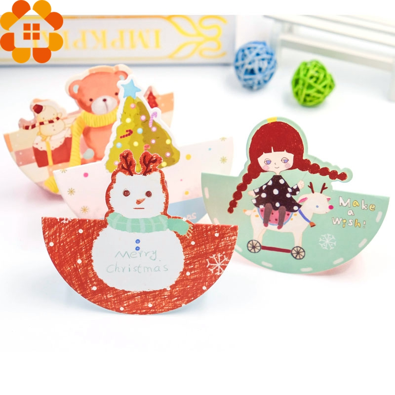 10PCS/Set Mini Cartoon 3D Christmas Cards Greeting Thank You Card Envelope Writing Paper Stationery Christmas Gifts