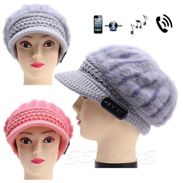 Женщины Теплый Шапочка Hat Беспроводные Bluetooth Music Cap Наушников Гарнитуры Динамик Микрофон бесплатная доставка