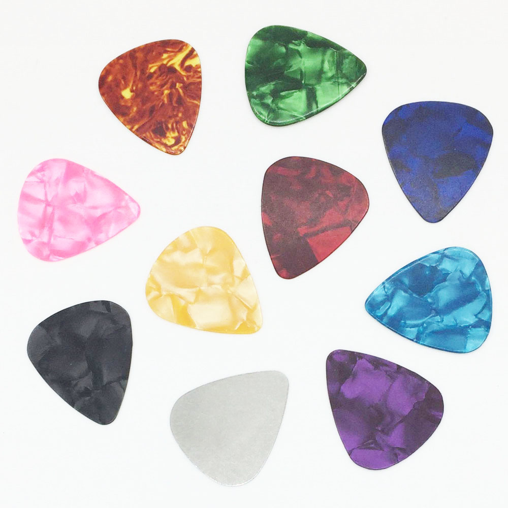 10 pieces Acoustic Guitar Pick (9 Celluloid + 1 Steel) Thickness 0.30 0.46 0.71 0.96 mm Thin Medium Heavy - Color Random 100pcs acoustic electric guitar picks parts acoustic celluloid plectrum multi 0 46 0 71mm classical guitar pick