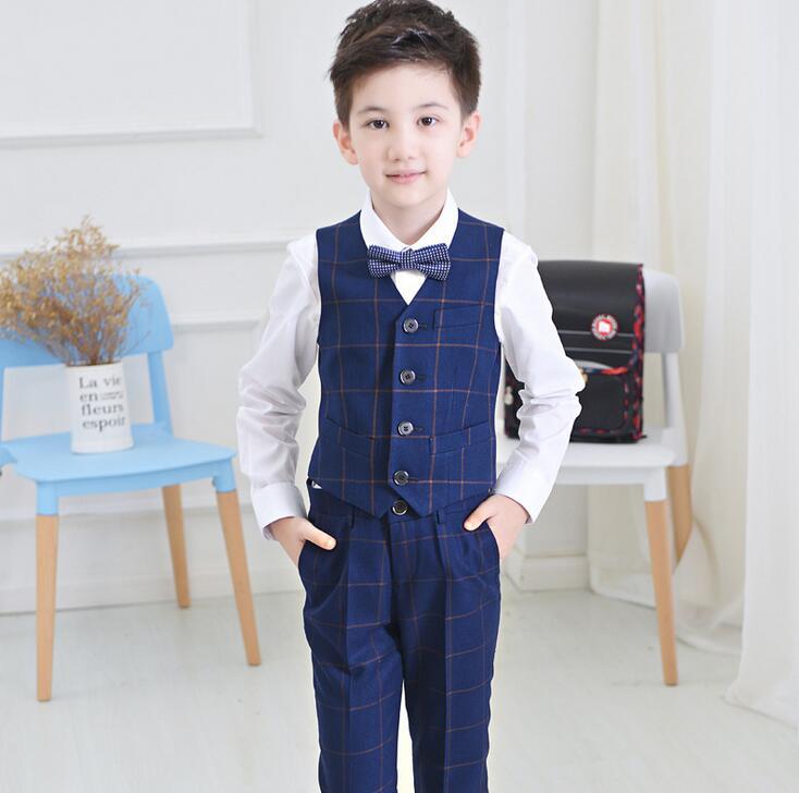 Baby Boys Formal Suit Outfits Gentleman Bowtie Shirt Vest Pants Wedding Clothes Set