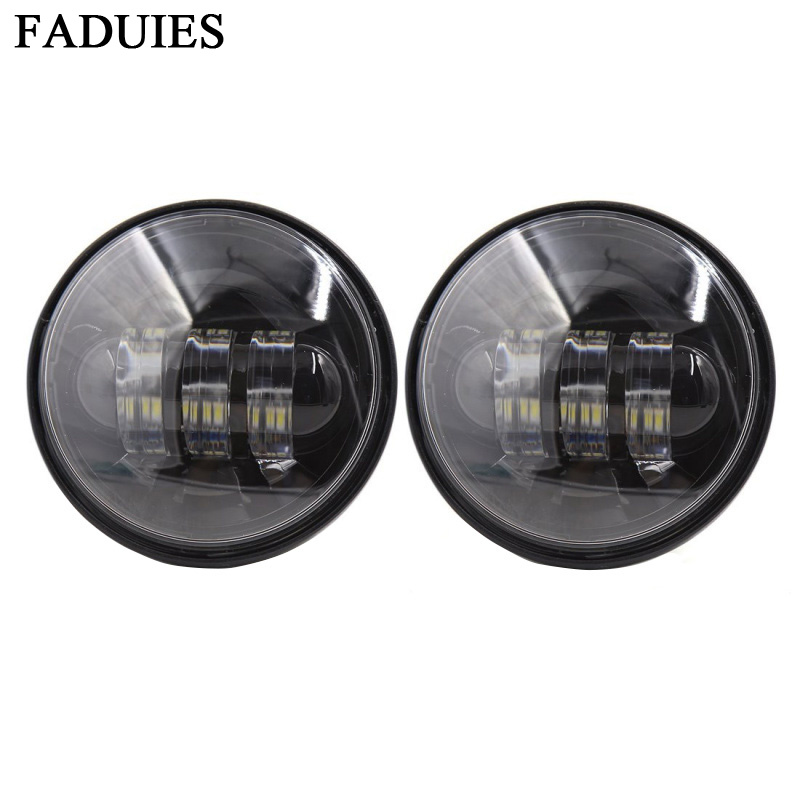 FADUIES Black 4.5 inch Daymaker Projector LED Auxiliary Lamps 4-1/2 30W LED Auxiliary Fog Passing Light For Harley Motorcycle led motorcycle fog lights chrome for harley 12v 4 5 inch fog lamp 4 1 2 30w passing drl waterproof motorbike black for harley