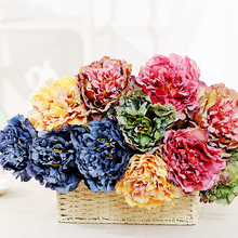 Artificial Peony Flower Branch European-style Single Bouquet Real Feel Home Wedding Party Holiday Decoration Gift