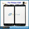 """Top quality 5.0 """"para philips v387 tela sensível ao toque digitador frente substituição do sensor de vidro do painel de toque de cor preta frete grátis"""