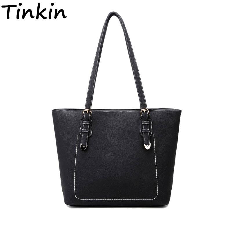 Tinkin Simplicity Women Handbag 여성 캐주얼 매일 사용 토트 PU 가죽 가을 가방 대형 빈티지 쇼핑 가방