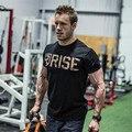 2016 Oro SUBIDA Crossfit Culturismo Camiseta de Los Hombres de Impresión camiseta masculina de manga Corta poleras hombr moda tee