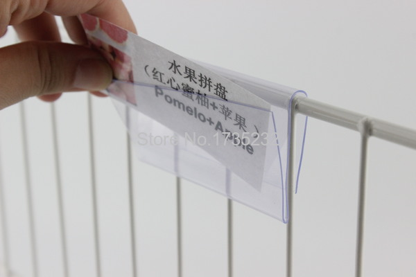 10/8/6cmx4cm Clear Plastic PVC Price Tag Sign Label Display Clip Holder For Supermarket Store Wood Glass Shelf Fitting 100pcs-in Frame from Home & Garden    1