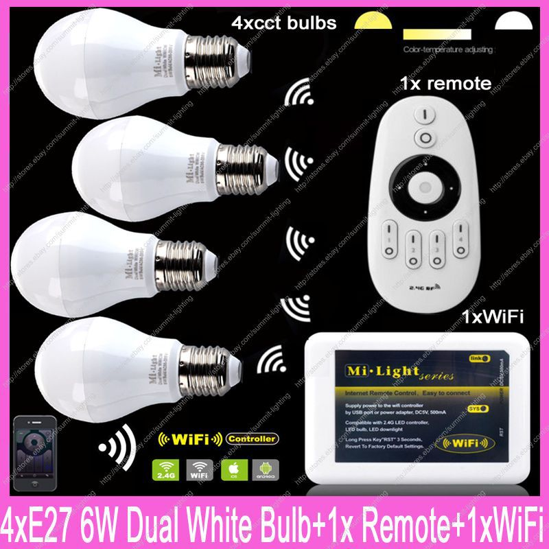 4x E27 Mi.Light 6W Color Temperature Adjustable Dual White CW/WW CCT LED Bulb AC85-265V+1x 2.4G Wireless Remote+1x WiFi Hub ac110v 240v dx62 wall mount 2 4g rf wireless led sync cct color temperature controller dmx512 signal ouput for dual white strip