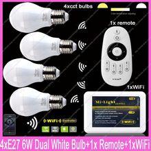 4x E27 Mi.Light 6W Color Temperature Adjustable Dual White CW/WW CCT LED Bulb AC85-265V+1x 2.4G Wireless Remote+1x WiFi Hub