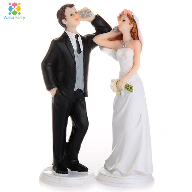 fun wedding party engagement cake decoration cake topper resign bride and groom cellphone figurine bridal shower