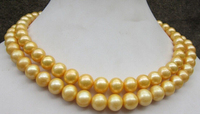 Huij 001883 34 Inch 10 11 Mm Genuine South Sea Golden Pearl Necklace 14k Gold Clasp