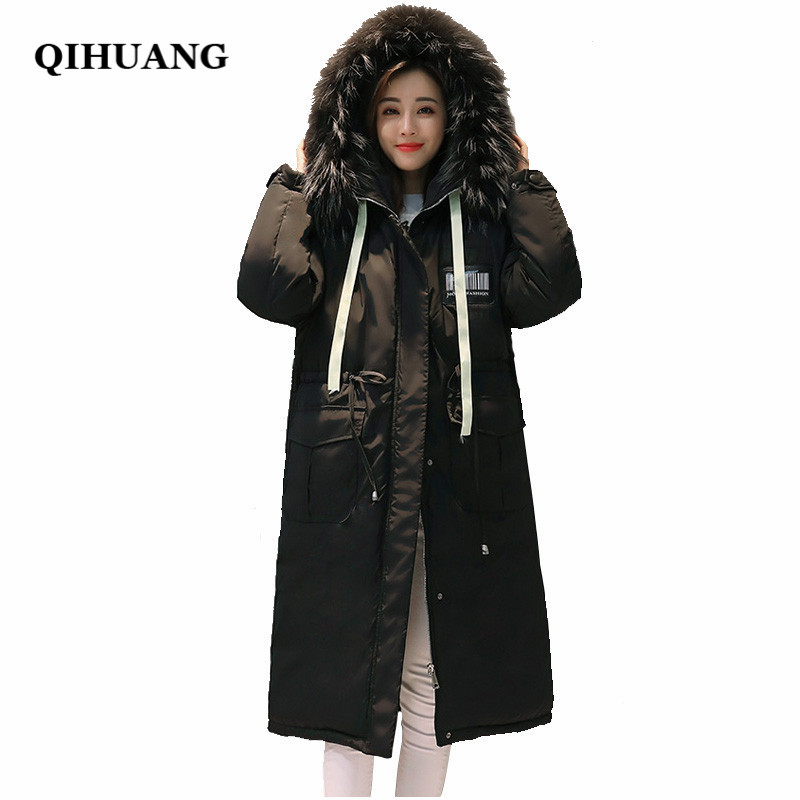 QIHUANG X-Long Thicken Parkas 2017 Winter Long Women Coat Hooded Fur Collar Jacket Women Warm Down Cotton Padded Parkas Jacket 2015 hot new winter thicken warm woman down jacket coat parkas outerwear hooded fox fur collar luxury long brand plus size 2xxl