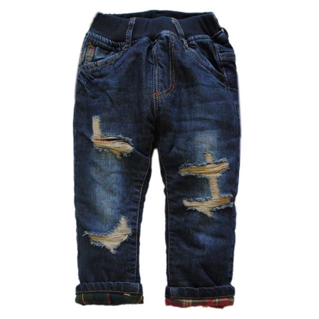6010 regular muito quentes calças de brim do bebê inverno Double-deck crianças grossas & calças calças buraco denim velo do bebê agradável moda de nova