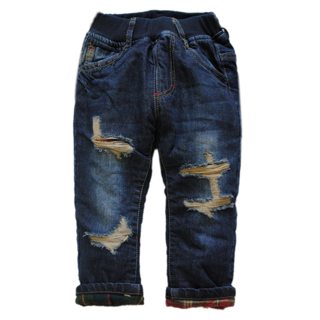 6010 regular very warm baby jeans  winter  Double-deck thick kids & baby pants hole trousers denim fleece nice fashion new