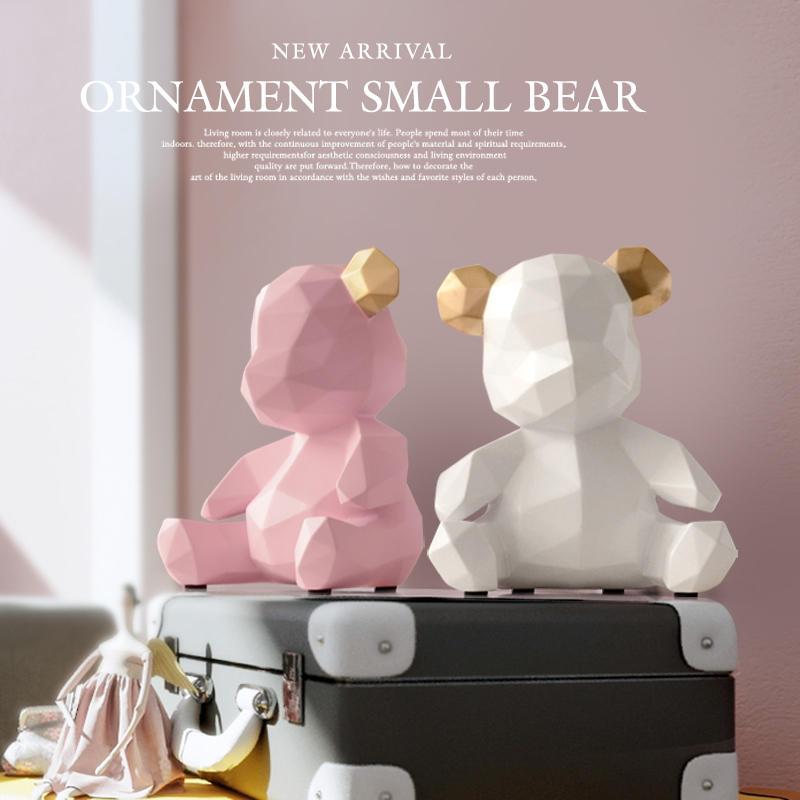 Bear Origami Statue Geometry Animal Art Sculpture Resin Craftwork Living Room Decor L2986