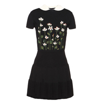KENVY Brand Fashion Women's High end Luxury Summer Vintage Black Short sleeved Flower Embroidery knitted Dress