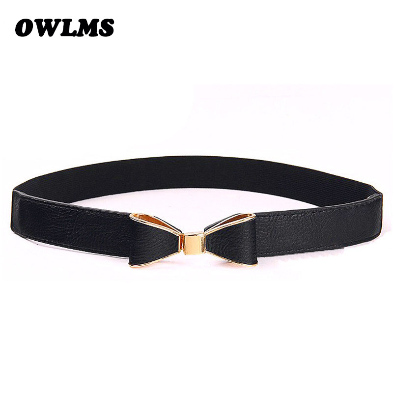 Beauty Cummerbunds Bow Waistbands HOT Thin Cummerbund Elastic Belts Gold Black Red PU Leather Girl Party Lady Dress Accessories