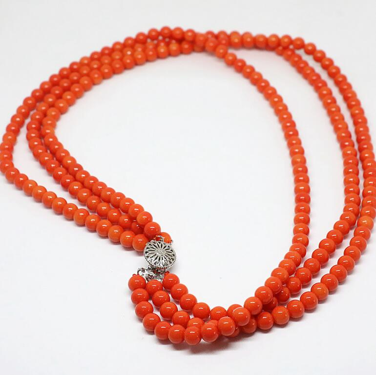 New top quality unique design 3rows pink orange artificial coral necklace 6mm round beads pretty party gift jewelry 18inch B1451New top quality unique design 3rows pink orange artificial coral necklace 6mm round beads pretty party gift jewelry 18inch B1451