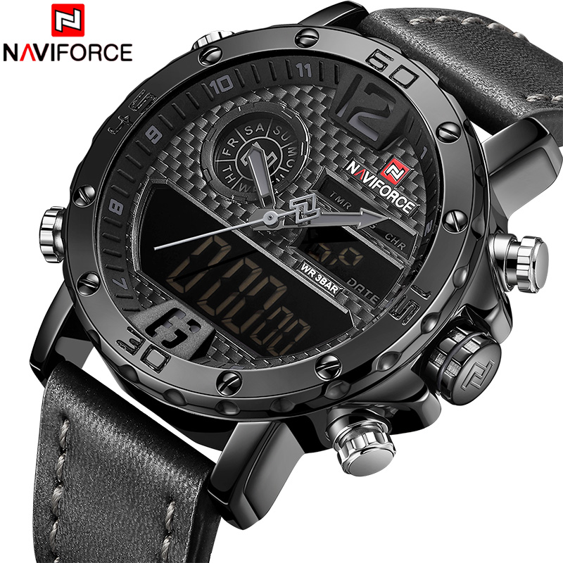 все цены на NAVIFORCE Top Luxury Brand Men Casual Sport Watches Men's Leather Quartz Wrist Watch Male Military LED Date Analog Digital Clock