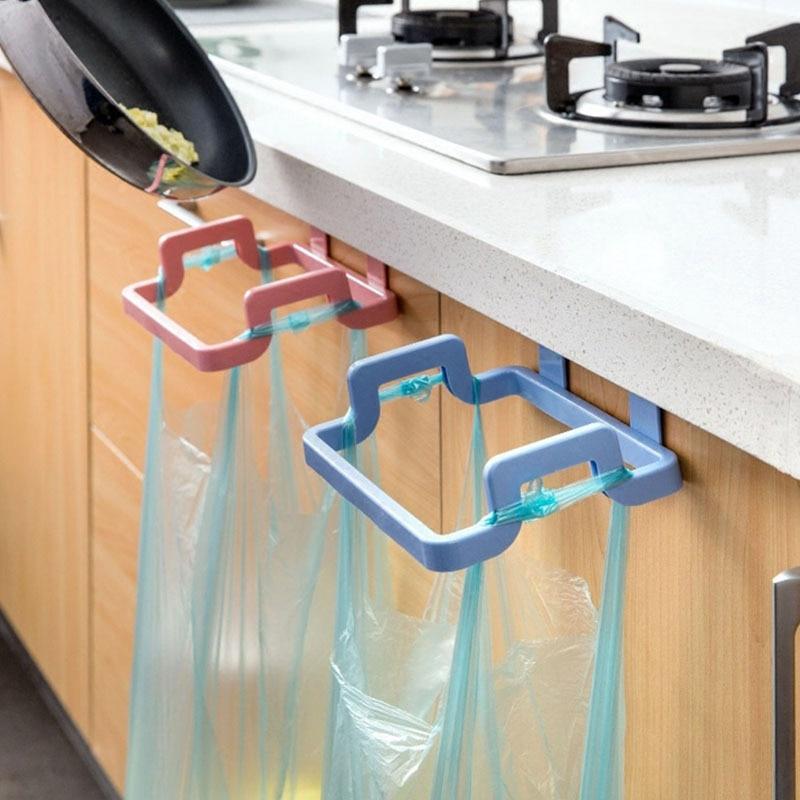 1 Pcs Garbage Bag Rack Hanging Trash Bag Rack Rubbish Bag Storage Rack Holder Portable Cabinet Trash Rack Kitchen Gadgets