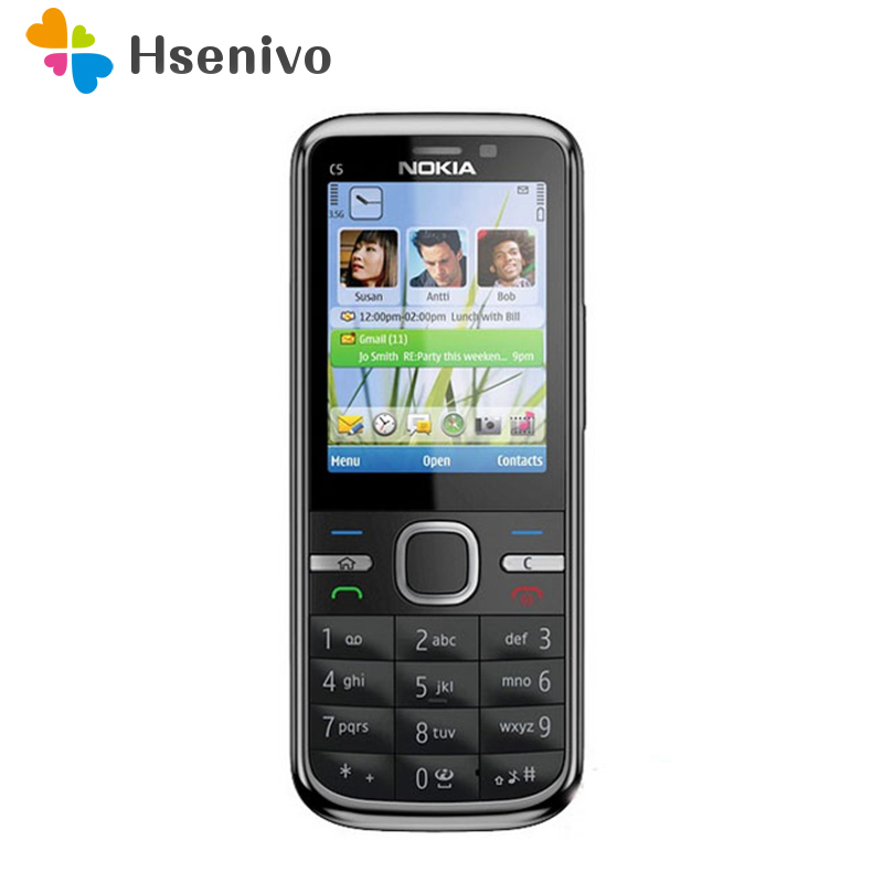 C5 Nokia C5-00 Original Unlocked Mobile Phone 3MP/5MP Camera 3G GPS Bluetooth FM C5-00 Cell Phone Cheap Phone Frees Hipping