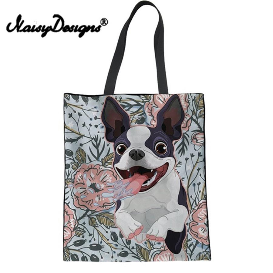 Noisydesigns Top Handle Bag Canvas Shopping Bag Funny Floral Yorkshire Terrier Pug Dog Print Drawing Tote Bag Girls Kids