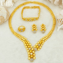 Liffly Fashion Dubai Bridal Women 24 Gold Jewelry Sets Pendant Crystal Bead Necklace Nigeria Wedding Party Accessories