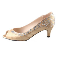 Handmade light gold blonde low heel rhinestone diamand pleated open toe barn wedding shoes mother of bride dress shoes evening
